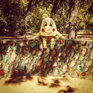 Humpty Dumpty on his wall guarding the sandbox